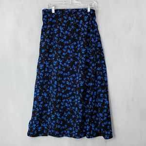 Prima Blue floral Maxi Skirt with Slit